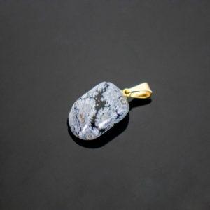Pingente Obsidiana Negra Floco de Neve com Pino Dourado