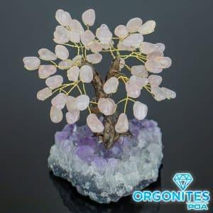 Árvore De Quartzo Rosa Com Base de Ametista 18 galhos