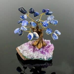 Árvore de Sodalita com Base de Ametista 8 Galhos