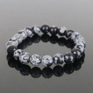 Pulseira de Obsidiana Negra Floco de Neve