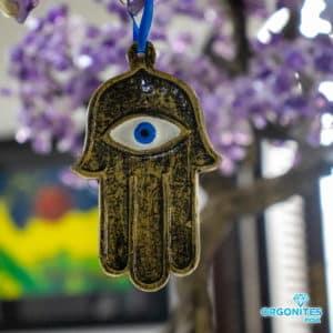 Pendente para Ambientes Mão de Fátima Dourada com Olho Grego