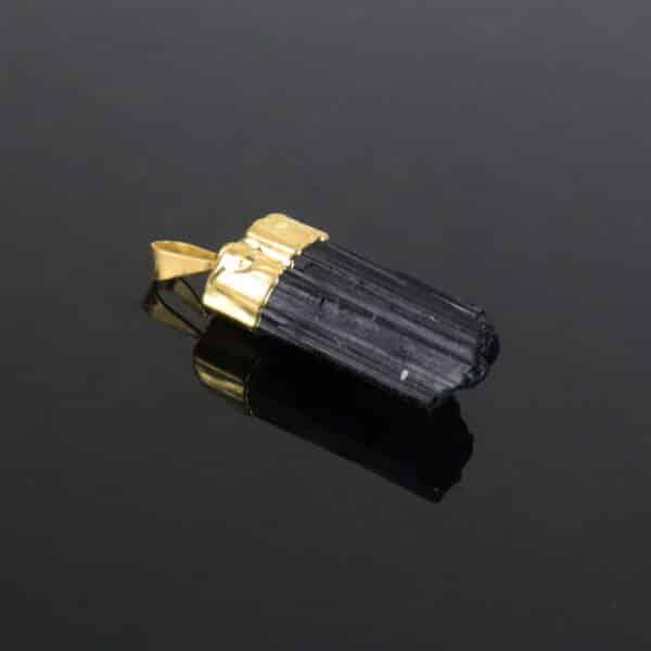Pingente de Turmalina Negra com Banho Dourado