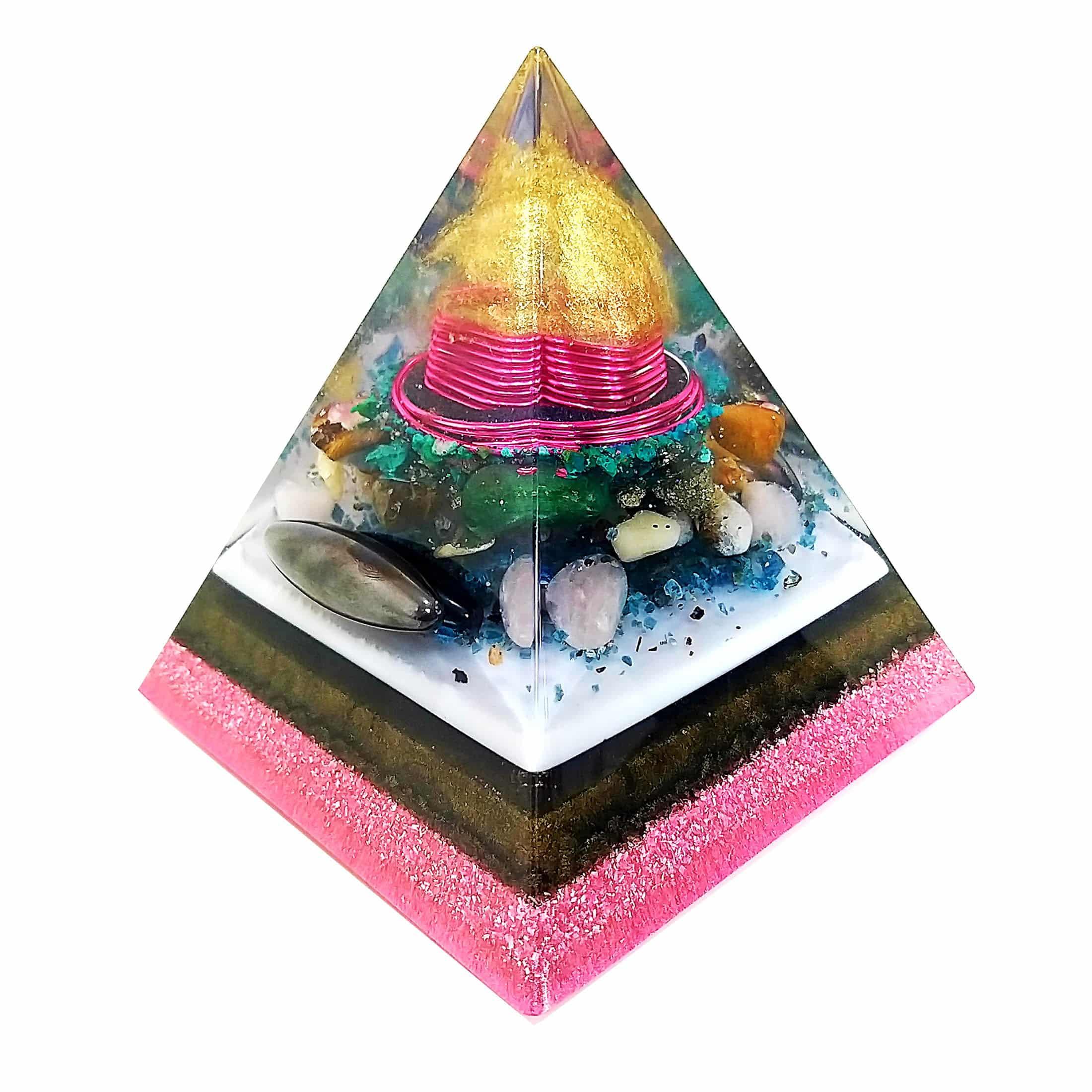 Pronta Entrega - Orgonite Pirâmide Rosa com Hematitas Magnetizadas 16cm