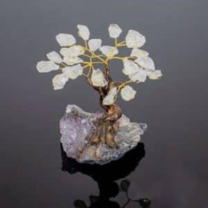 Árvore De Cristal De Quartzo Bruto com Base de Ametista 8 Galhos