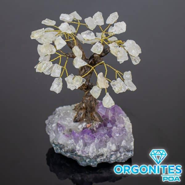 Árvore De Cristal de Quartzo Bruto com Base de Ametista 18 Galhos