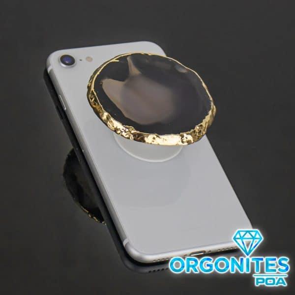 Popsocket de Chapa de Ágata com Banho Dourado