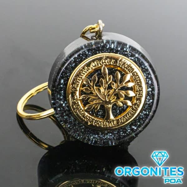 Chaveiro de Orgonite com Pingente de Árvore da Vida/Família Dourado