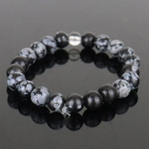 Pulseira de Obsidiana Negra Floco de Neve com Cristal de Quartzo