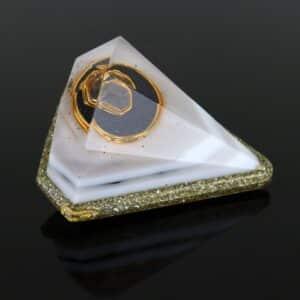 Pronta Entrega - Orgonite Diamante Médio Dourado 11cm com Borda