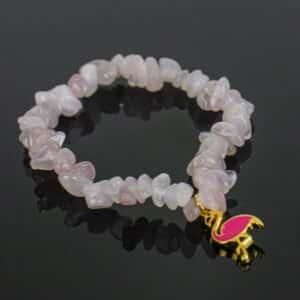 Pulseira de Quartzo Rosa com Pingente Flamingo Dourado