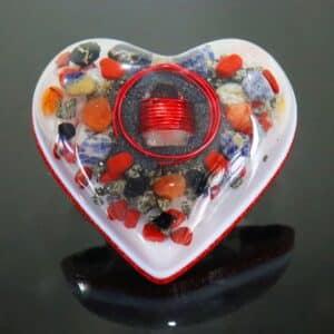 Pronta Entrega - Orgonite Coração Grande Vermelho 14cm