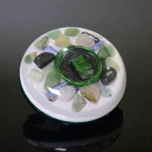 Pronta Entrega - Orgonite Meia Esfera Média Verde 11cm