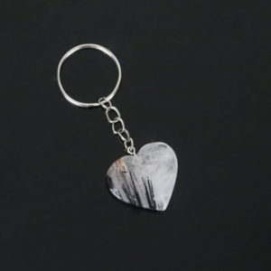 Kit com 2 Chaveiros Coração de Quartzo Turmalinado